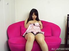 Sweaty brunette bitch Kokoa Aisu rubs her hairy trench