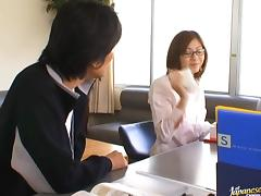 Yuma Asami Has Her Hairy Teacher Pussy Drilled
