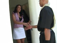 Mischievous brunette mom Layla Rider gets hammered by bald dude