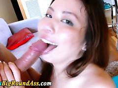 Busty big assed asian babe rides cock