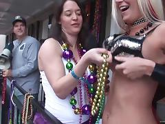 These girls are ready to everything for Mardi Gras beads
