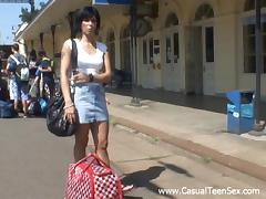 Sexy Brunette Amateur In A Miniskirt Screwed Outdoor