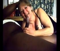 White Granny gives blowjob to BBC