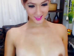 Smoking Busty Shemale Babe Masturbation