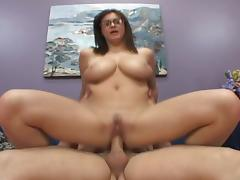 Busty amateur brunette rammed wildly in the sofa