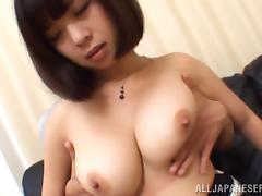 Busty Asian babe is fucked silly by this guy's thick cock