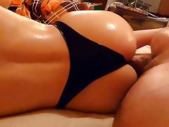 Me fucking my wife's big oiled ass in latex strings at home