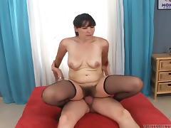 Steve Q lets mature brunette Martha A suck and ride his wang