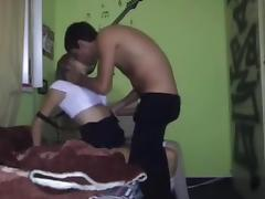 Blonde teen hottie banged in front of a hidden camera