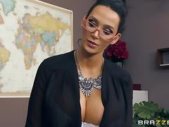 Gorgeous Blonde Cougar Enjoying A Hardcore FFM Threesome Fuck In Her Office