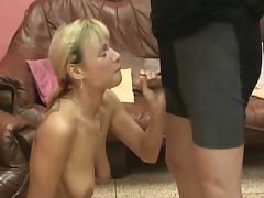 Blonde milf enjoys golden rain after sucking a cock