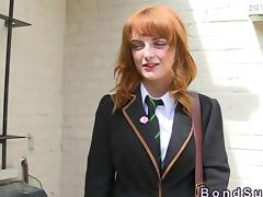 Redhead schoolgirl dominated and face fucked