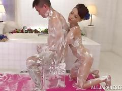 Delightful Japanese Wife Goes Takes A Soapy Bath With Her Man
