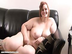 Horny BBW Lies Naked On The Couch While She Smokes A Cigarette