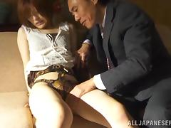 Azusa Itagaki moans with pleasure while getting her hairy vag banged