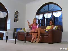 Alyssa Reece and Sheena Shaw toy each other's bums in the living room