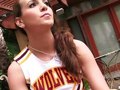Jenna Rose plays with herself in her cheerleading outfit