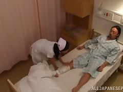 Naughty Japanese AV model is a wild nurse on the floor