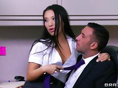 Interracial FFM threesome scene with Asa Akira and Diamond Jackson