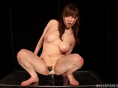 Asian Girl with Nice, Natural Tits Rides Her Big Toy