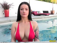 Tattooed Brunette With Natural Tits Gets Drilled Missionary