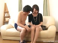 Reiko Kirishim gets her shaved Asian crotch licked and fingered