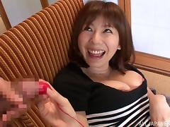Busty Japanese mom Yuma Asami favours a dude with a blowjob