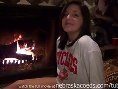 Sexy Teen Uding Glass Dildo Next To Parents Fireplace