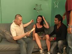 Ashli Ames is covered by semen after being gangbanged