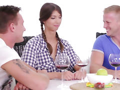 Virgin Marisa looses virginity with two guys after doctor check