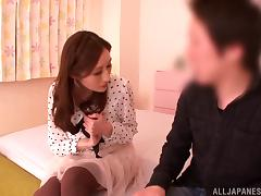 Arousing Asian milf Julia gives impressive blowjob