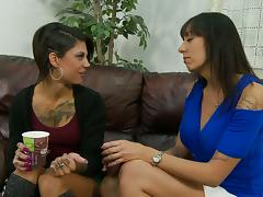Tattooed Brunettes In Miniskirts Suck One Hard Cock In FFM Threesome
