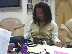 Ebony sucks cock for job in interview
