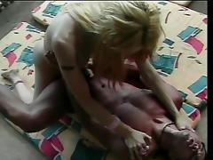 Blonde Tgirl with big tits get her mouth filled with dick.