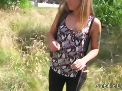 Blonde is fucking in the outdoors and doing it well pov