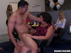 Skinny blonde gets fucked at a party after cock-sucking contest