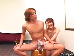 japanese hottie washes his cock