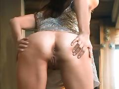 Sexy Brunette Chick With A Nice Ass Playing With Her Shaved Pussy And Asshole