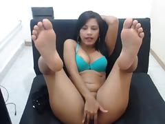 cute latina soles on webcam with encouragement