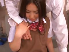 Hot Japanese teen Maho Ichikawa wears her sexy uniform and gets fucked