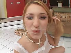 Cum Party on Blonde Doll Face