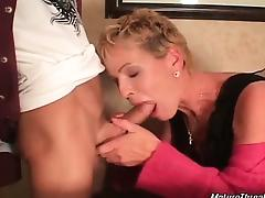 Nasty and horny blonde mature slut looks pretty hot for her