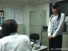 Busty Asian office chick Tsubomi gets a hot cumshot at work