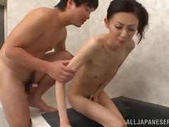Skinny porn hottie Yui Natori  enjoys cumshot on her hairy pussy
