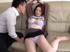 Lingerie-clad Asian babe with beautiful natural tits enjoying a hardcore fuck