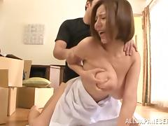 Busty asian av model Ruri Saijoh is fond of doggystyle bang