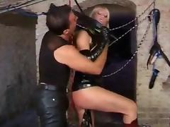 Slutty blonde in latex gets nailed and facialized