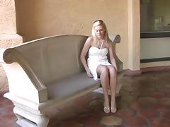 Blonde cutie Alison Angel masturbates her pussy indoors