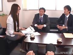 Jessica Kisaki enjoys upskirt doggy style MMF banging