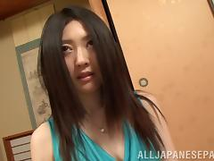 Amateur cock sucking Asian gets cum in mouth in POV oral